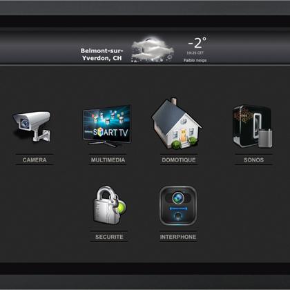 iPad support mural avec keypad IP en noir